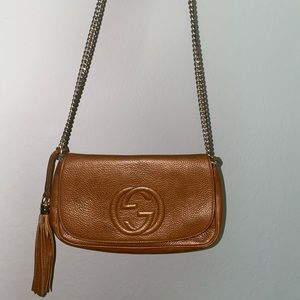 Gucci Soho Medium Beige Leather Cross Body Bag